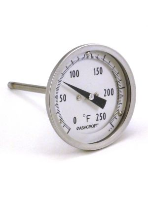 Ashcroft 20EI60R025 0 - 250° F Bimetal Dial Thermometer, 2 In Dial, 2.5 In Stem, Rear