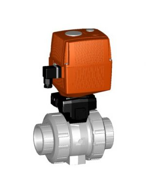 GF 199133419, 2-1/2 In Type 133 CPVC / FPM Ball Valve with Electric Actuator and Manual Override