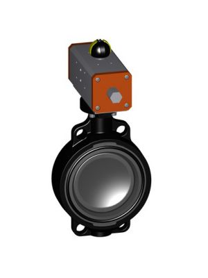 GF 199240107, 6 In Type 240 PVC / FPM Butterfly Valve with Pneumatic Double Acting Actuator