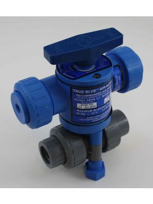 3/4 In Plast-O-Matic True Blue Pneumatically Actuated CPVC Ball Valve, ABVA075VT-CP, Direct Acting (Consisting of MBV075VT-CP, ABVA-1.6)