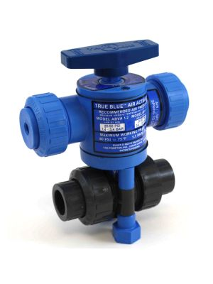 3/4 In Plast-O-Matic True Blue Pneumatically Actuated PVC Ball Valve, ABVS075VT-PV, Fail Safe (Consisting of MBV075VT-PV, ABVA-1.6, ABVS-1.6)
