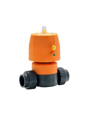 GF 161624636, 1-1/2 In DIASTAR 10 PVC / FPM Diaphragm Valve with Pneumatic Fail Close Actuator