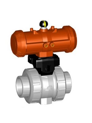 GF 199233414, 3/4 In Type 233 CPVC / FPM Ball Valve with Pneumatic Double Acting Actuator
