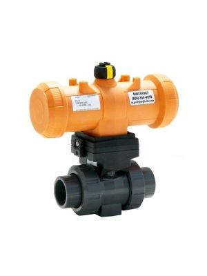 GF 199233103, 1/2 In Type 233 PVC / EPDM Ball Valve with Pneumatic Double Acting Actuator