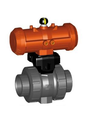 GF 199233116, 1-1/4 In Type 233 PVC / FPM Ball Valve with Pneumatic Double Acting Actuator