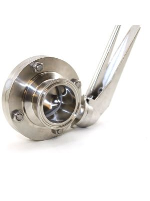 1 In APV 316L Stainless Steel Sanitary Butterfly Valve, Lever Handle, Viton Seat, S-Clamp Ends
