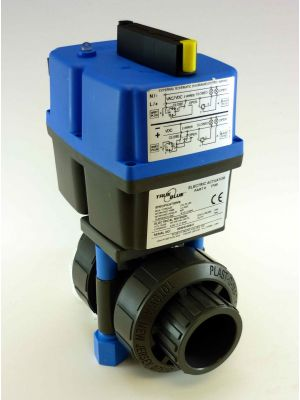 3/4 In Plast-O-Matic True Blue Electrically Actuated PVC Ball Valve, EBVA1-1-075VT-PV,  85-240VAC/VDC (Consisting of MBV075VT-PV, EBVA-1-1)