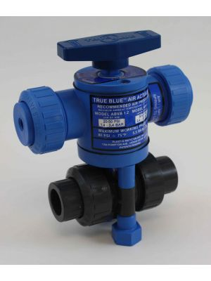 2 In Plast-O-Matic True Blue Pneumatically Actuated PVC Ball Valve, ABRA200VT-PV, Direct Acting (Consisting of MBV200VT-PV, ABRA-2.5)