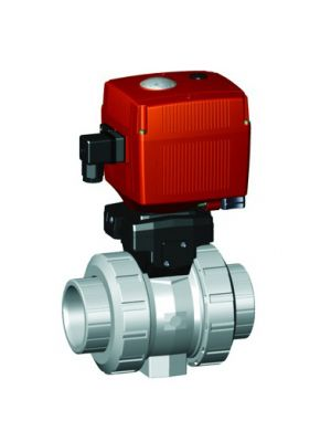 GF 199107316, 1-1/4 In Type 107 CPVC / FPM Ball Valve with Electric Actuator and Manual Override