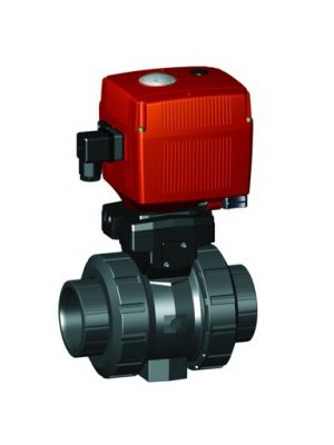 GF 199107216, 1-1/4 In Type 107 PVC / FPM Ball Valve with Electric Actuator and Manual Override