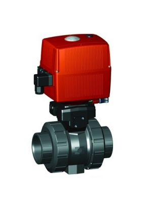 GF 199133013, 1/2 In Type 133 PVC / FPM Ball Valve with Electric Actuator and Manual Override