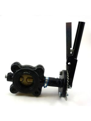 4 In Cast Iron 150 LB Lugged Butterfly Valve with Lever, Bronze Disc, Buna Seat, Milwaukee ML223B