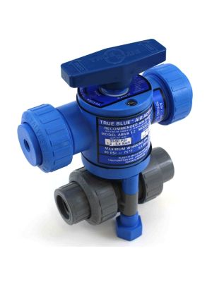 1/2 In Plast-O-Matic True Blue Pneumatically Actuated CPVC Ball Valve, ABVS050VT-CP, Fail Safe (Consisting of MBV050VT-CP, ABVA-1.2, ABVS1.2)