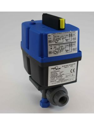 3/4 In Plast-O-Matic True Blue Electrically Actuated CPVC Ball Valve, EBVA1-1-075VT-CP,  85-240VAC/VDC (Consisting of MBV075VT-CP, EBVA-1-1)